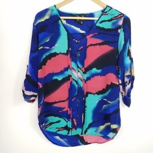 Yumi Kim 100% Silk Lizzie Button Front Blouse
